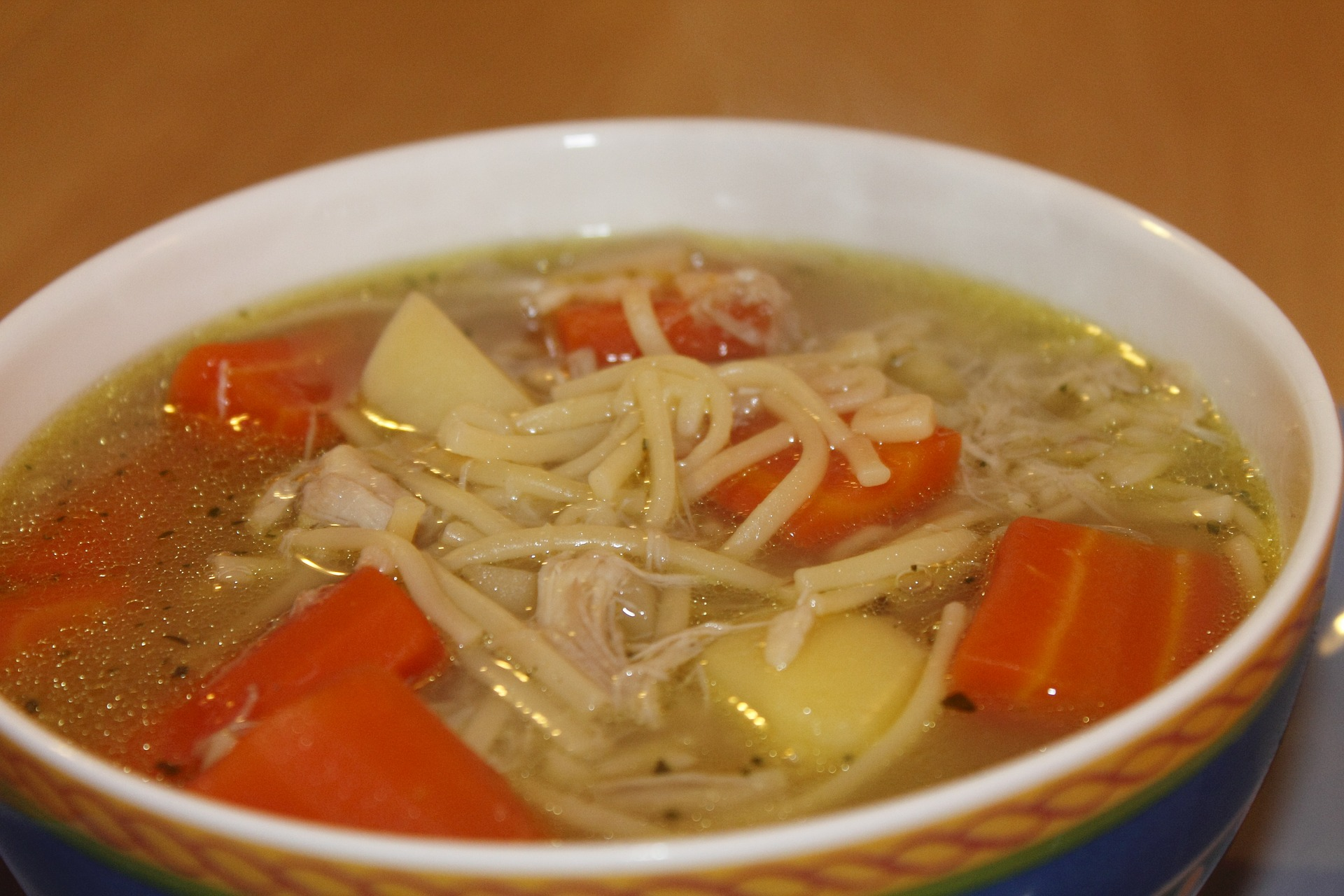 close up of a bowl of chicken noodle soup