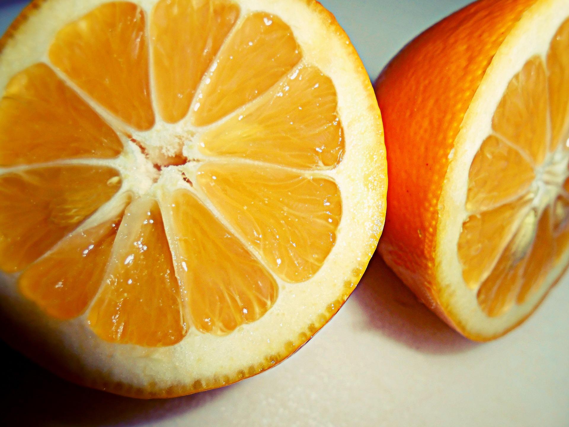 a split open Meyer lemon