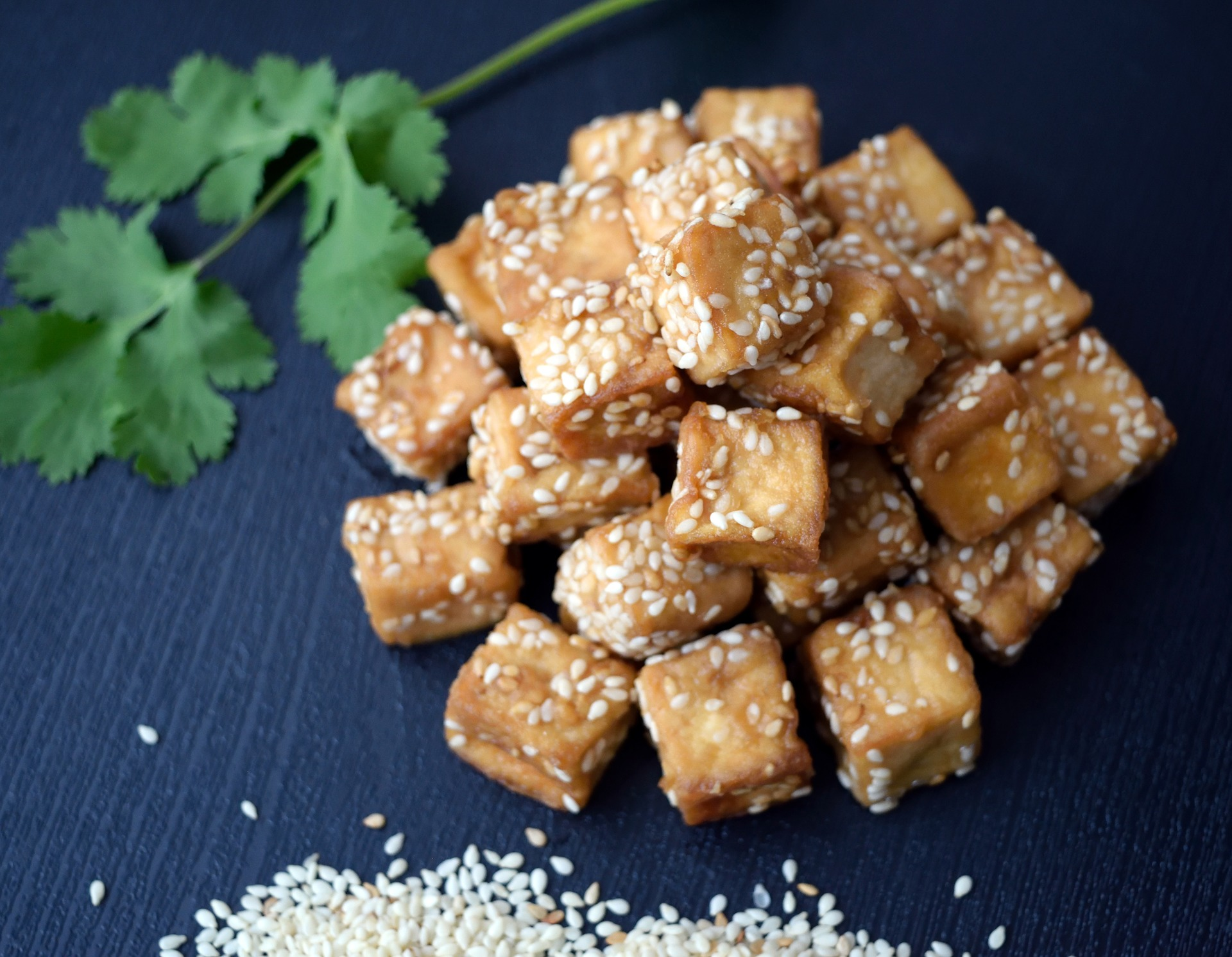 tofu with sesame seeds, garnish of parsley in the background