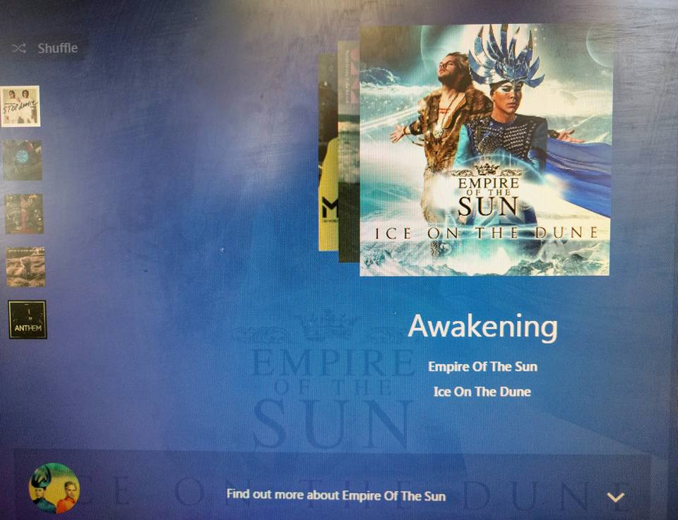 screenshot of a Pandora station on the computer with the song Awakening by Empire of the Sun