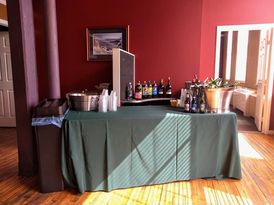 a bar set up in an office